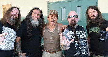 """At Slayer's music video shoot for the track """"Repentless,"""" the band is pictured with actor Danny Trejo who plays a cameo in the piece.LEFT TO RIGHT:  Slayer's Gary Holt and Tom Araya, Trejo, Slayer's Kerry King and Paul Bostaph.The """"Repentless"""" video was shot on August 26, 2015 at the Sybil Brand Institute in Los Angeles."""