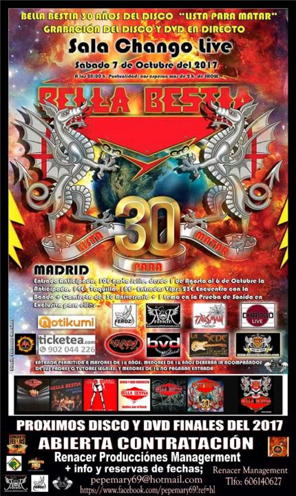 Bella Bestia 30 Aniversario 7 Octubre 2017_430x720