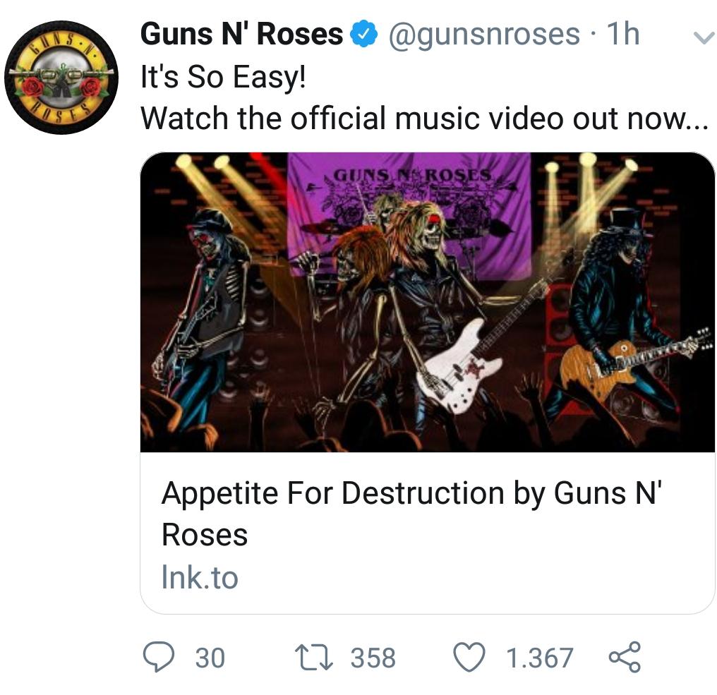 Guns N' Roses It's So Easy - Twitter