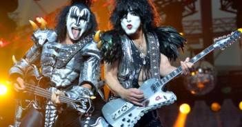 In this picture, made available Thursday  June 13, 2013, bassist Gene Simmins, left,  and singer Paul Stanley of the US band Kiss  perform  on stage  in Berlin, Germany,  Wednesday June 12,  2013. It is the only concert of the rock group in Germany during their Monster Tour 2013.  (AP Photo/dpa,Britta Pedersen)