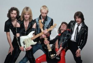 Members of the heavy metal band Judas Priest are, from left: Ian Hill, K.K. Downing, Rob Halford, Glenn Tipton, and Dave Holland. 1981